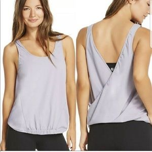 Fabletics 2-in-1 Lucia wrap tank top purple large